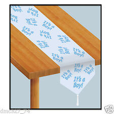 1 BABY SHOWER Party Tabletop Decoration Paper Blue IT'S A BOY TABLE RUNNER