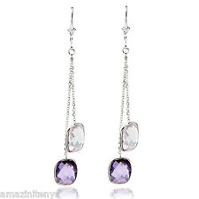 14K White Gold Dangle Earrings with Lavender and Purple Amethyst Gemstones