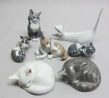 Group of 7 Vintage PORCELAIN CAT FIGURES Royal Copehangen, Liadro, Royal Dux