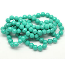 100 x Green Mottled / Drawbench Turquoise Craft Beads - 8mm - B18242