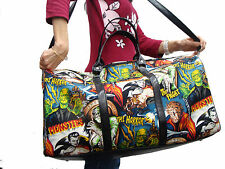 LARGE DUFFEL BAG  MESENGER BAG WITH  MONSTERS FRANKENSTIEN PATTERN  PURSE, NEW
