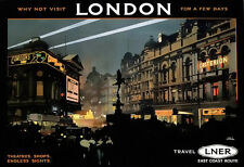 Piccadilli circus london theatres magasins endless sights rail travel poster print