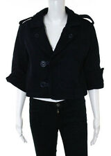 NWOT MIKE & CHRIS Navy Blue Boiled Wool Notched Collar Cropped Coat Jacket Sz S