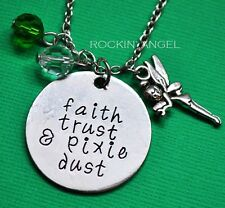 'Faith, Trust & Pixie Dust' Tinkerbell, Peter Pan Pendant Necklace, Ladies Gift