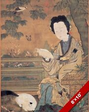 WOMAN SITTING UNDER TREE & CAT PAINTING ANCIENT CHINESE ART REAL CANVAS PRINT