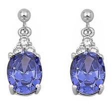 DANGLING OVAL TANZANITE & CZ .925 Sterling Silver Earrings