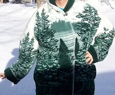 WOMEN'S VERY WARM FLEECE JACKET- XL - GREEN & WHITE - OUTDOOR DESIGN