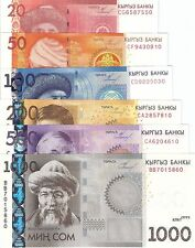 SET 6 Notes KYRGYZSTAN 20 to 1000 Som Banknote World Paper Money Pick p24 - p29