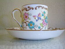 Antique Crown Staffordshire England  Pink/Blue Flowers Demitasse Cup and Saucer
