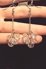 long dainty faceted white glass beaded cluster silver tone drop dangle earrings