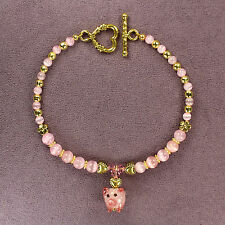 3D PIG TOTEM BRACELET Piglet Piggy Pink Lampwork Gold Heart Animal Magick LONG