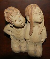 Vintage Collectible Lee Bortin Originals Girl and Boy Statue Figurine Looking Up