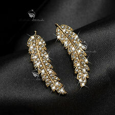 18k yellow gold filled stud clear crystal leaves feather ear climbers earrings