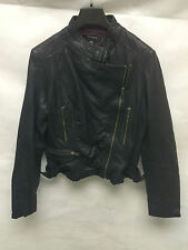 Muubaa Women's Black Biker Leather Jacket. RRP £349. UK 10.