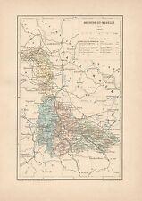 C9055 France - MEURTHE-ET-MOSELLE - Cartina geografica antica - 1892 antique map
