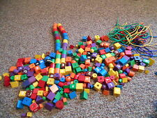 large lot of toy misc. wooden shape and alphabet beads with stringing laces
