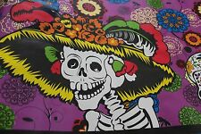 """Day of the Dead"" Skeletons Mexican Multicolored Oilcloth PVC Tablecloth Purple"
