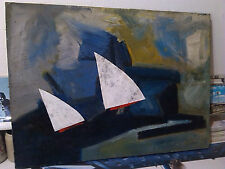 FRANCIS BOTT Ölbild Collage signiert 1959 Malerei Kunst Segeln antik