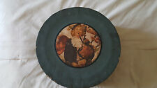 Vintage Old Round Hat Box Picture of Irish Lady w Bagpipes on Top