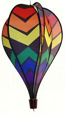 Black Rainbow Hot Air Balloon Wind Spinner Multi-Colored Weather Resistant