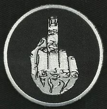MIDDLE FINGER IRON-ON FLIP OFF F-YOU MOTORCYCLE BIKER PATCH
