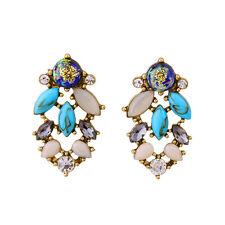 Boucles d`Oreilles Clous Doré Chandelier Turquoise Beige Vintage Class AA16