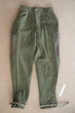 vtg Swedish Military 3 crown green wool pants C46 leather straps 28 x 30