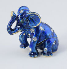 Mini Elephant Trinket Box by Keren Kopal Faberge Egg Austrian Crystal
