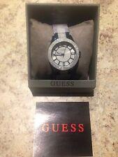 NEW Guess Women's W0074L3 Blue Steel Bracelet Strap White Dial Watch $389