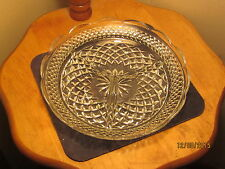 Vintage Pressed Cut Glass Clear Scalloped Relish Tri-Divided Dish Pickle 7 3/4""