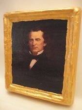 Andrew Johnson American President Gold Art Icon on Genuine Pine Wood Plaque