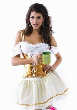 Sexy Women's Serving Wench Beer Festival Fancy Dress Costume Outfit Gold Orange