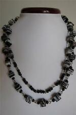 """Vintage Style Swirl Cube White Brown Glass Bead 40"""" Long Necklace"""