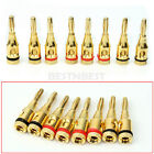 8X Gold Plated Musical Audio Speaker Cable Wire 4mm Banana Plug Connector Durabl