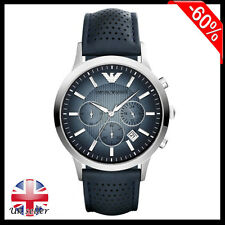 Brand New Emporio Armani® AR2473 Renato Blue Leather Strap Men's Watch RRP:£285