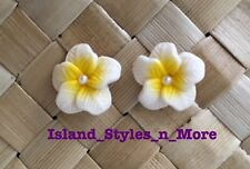 "Hawaiian Hibiscus Flower Fimo Fashion Jewelry Post Earring WHITE YELLOW 0.5"" in"