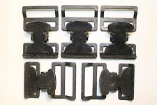 """Military Web Strap T Buckle, Spring Loaded, 1 1/2"""", Mil-Spec, Black. Lot of 5"""