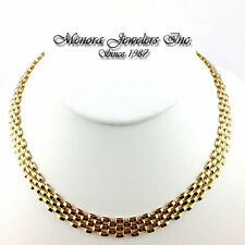 """17"""" 14K Yellow Gold Panther Link Chain Necklace 5 Row 10mm 28.2g STRONG!"""