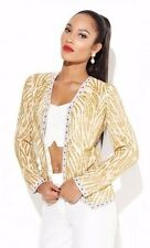 Virgos Lounge Trophy Long Sleeve Heavy Gold Bead Leopard Evening Jacket L 14 42