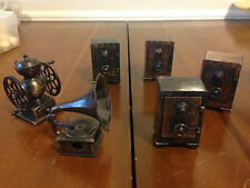 Lot 6 die cast miniature pencil sharpeners safes coffee mill Victrola phonograph