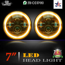 "Pair 7"" Round Angel Eyes Cree Led DRL Headlight For Jeep Wrangler JK/TJ/LJ/CJ"