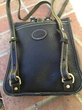 Vintage Dooney & Bourke All Leather Weather Stitched Black Backpack, Made USA