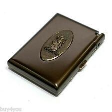 Zigarettenetui Metall mit Feuerzeug Tabak Zigaretten Schachtel Case Box Löwe