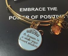 Disney Alex and Ani Cinderella A Dream is a Wish Your Heart Makes GOLD Bracelet