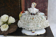 Antique unterweissbach marked Porcelain lace Group Lady with parrot floral