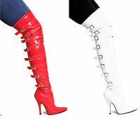 WOMENS LADIES SEXY OVER THE KNEE THIGH HIGH STILETTO HEEL BUCKLE STRETCH BOOTS