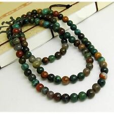 Tibetan 108 6mm Indian Jade Buddhism Meditation Prayer Beads Mala Necklace -25""