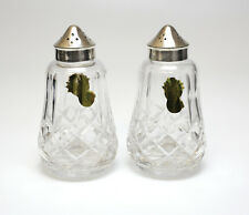 2pc Set Waterford Crystal and Electroplated Silver Salt & Pepper Shakers. Labels