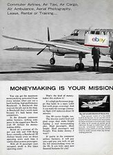 AIR WISCONSIN 1968 2 PG BEECH 99 #N245V AIRLINER MONEYMAKER COMMUTER AD