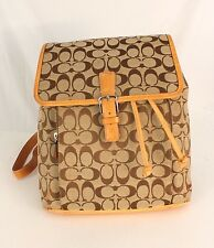Authentic Coach Monogram Brown Canvas Leather Backpack Shoulder bag Purse